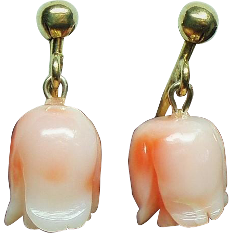 Vintage Italian Carved Coral Flower Bud Drop Petite Gold Filled Earrings