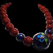 Vintage Chinese Export Carved Cinnabar Huge Cloisonne Bead Necklace