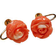 Vintage Carved Salmon Coral Roses 14K Screw Back Earrings