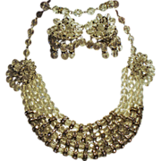 Vintage Rhinestone Rondelle Drippy Faceted Crystal Bead Parure