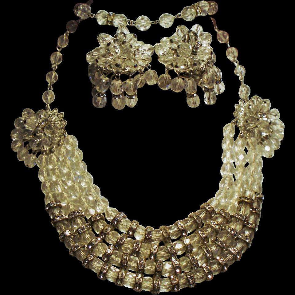 Vintage Rhinestone Rondel Drippy Faceted Crystal Bead Parure