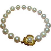 Vintage Cultured Pearl Strand Bracelet 14K Ornate Flower Clasp