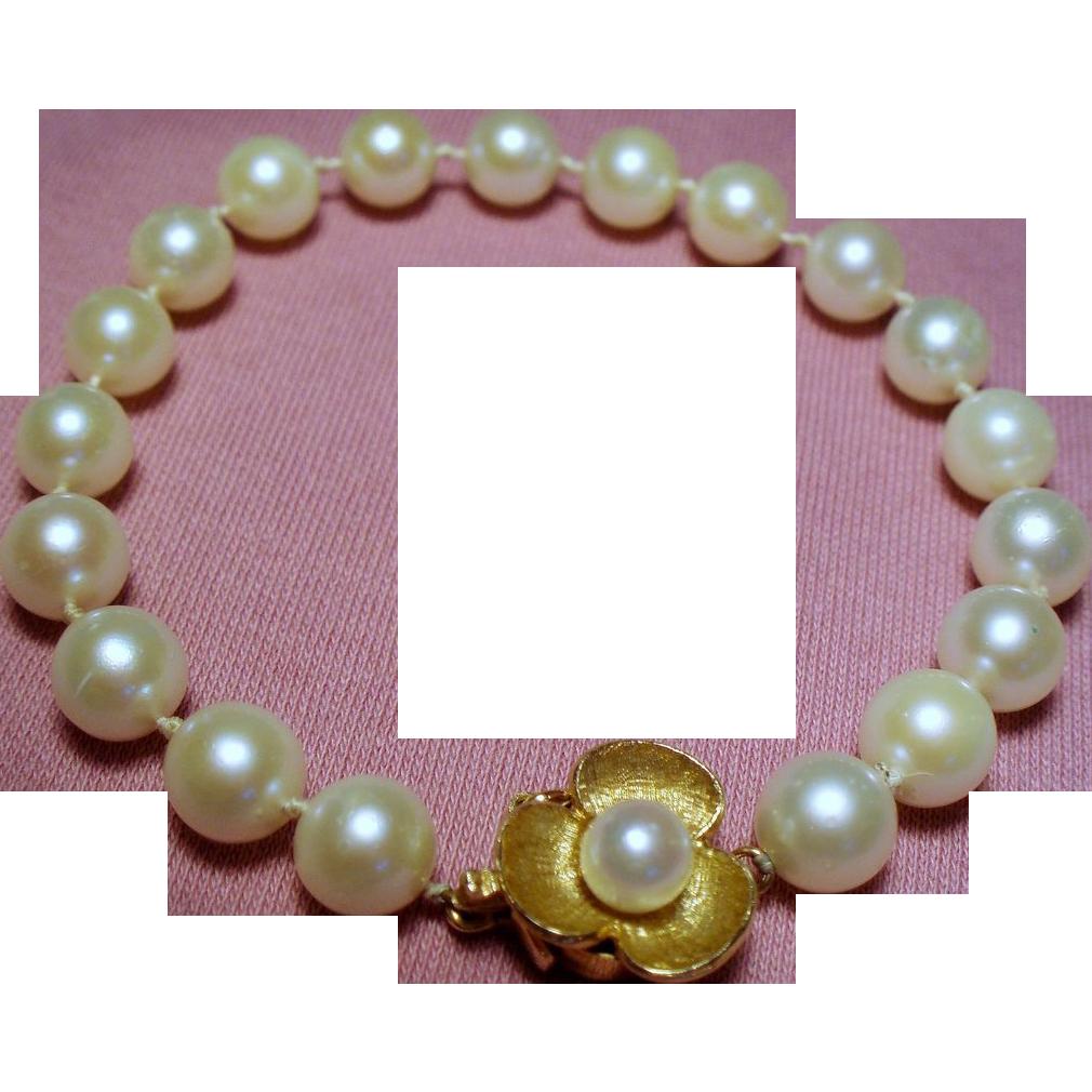 Vintage Cultured Pearl Strand Bracelet 14K Ornate Flower Clasp