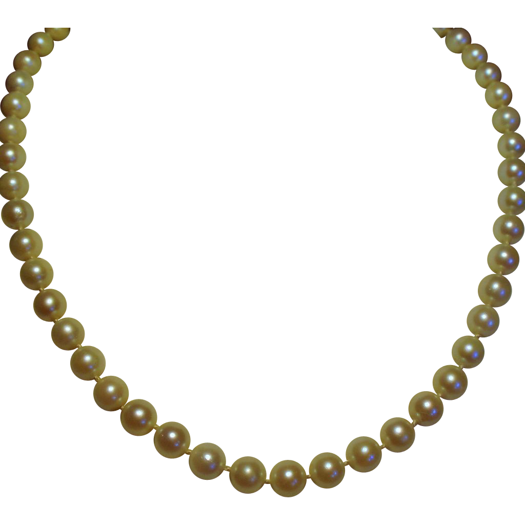 Vintage Cultured Pearl Choker Length Necklace 14K White Gold Filigree Clasp