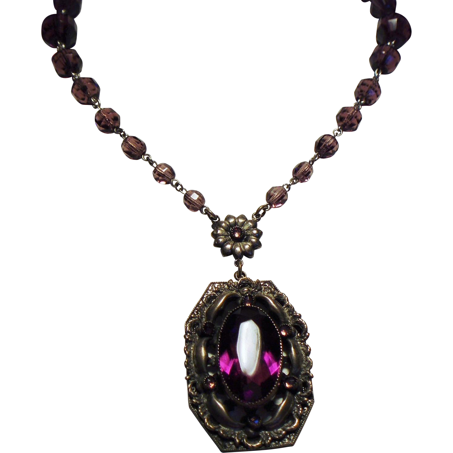 Vintage Czech Faceted Amethyst Glass Bead Ornate Pendant Necklace