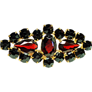 Vintage Czechoslovakia Faceted Garnet Glass Brooch