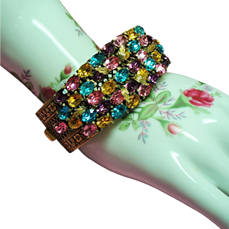 Vintage Czech Rhinestone Wide Pierced Hinged Bangle Bracelet