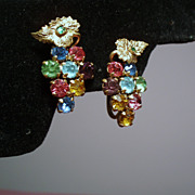 Vintage Czech Rhinestone Clustered Grape Earrings