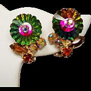 Vintage D&E Juliana Watermelon Margarita Rhinestone Earrings