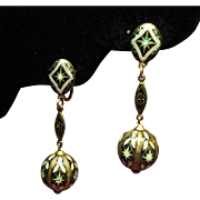 Vintage Damascene Spain Long Drop Pendant Earrings