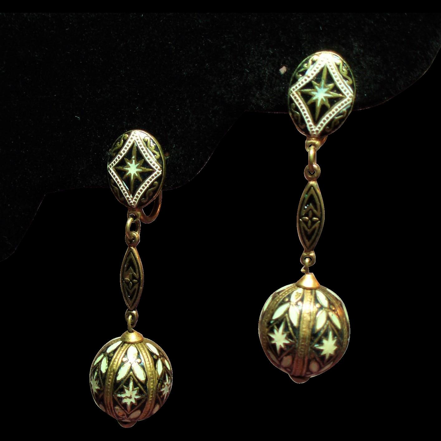 Vintage Damascene Spain Long Drop Pendant Earrings