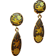 Vintage Damascene Bird & Flower Motif Long Drop Earrings