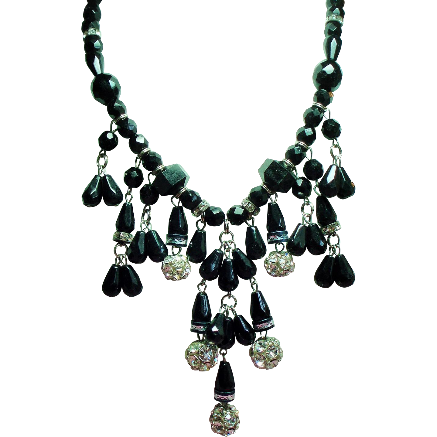 Vintage Dauplaise Faceted Black Glass Bead Rhinestone Rondel Dripping Bib Necklace