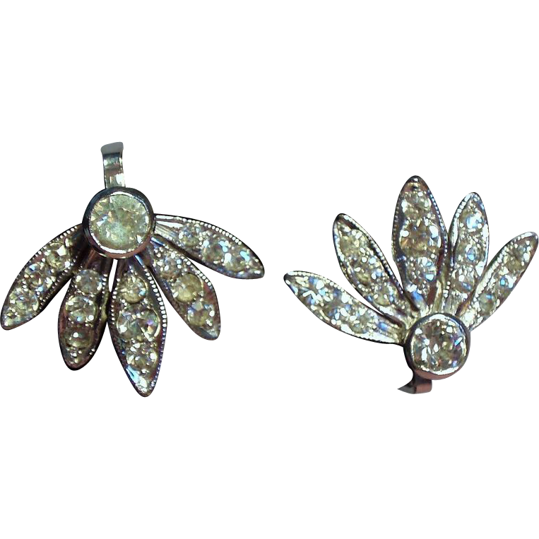 Vintage DeRosa Sterling Rhinestone Spray Petite Earrings
