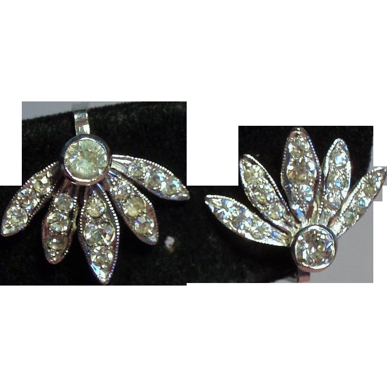 Vintage DeRosa Sterling Rhinestone Spray Petite Earrings