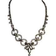 Vintage Late Art Deco Rhinestone Circles Necklace