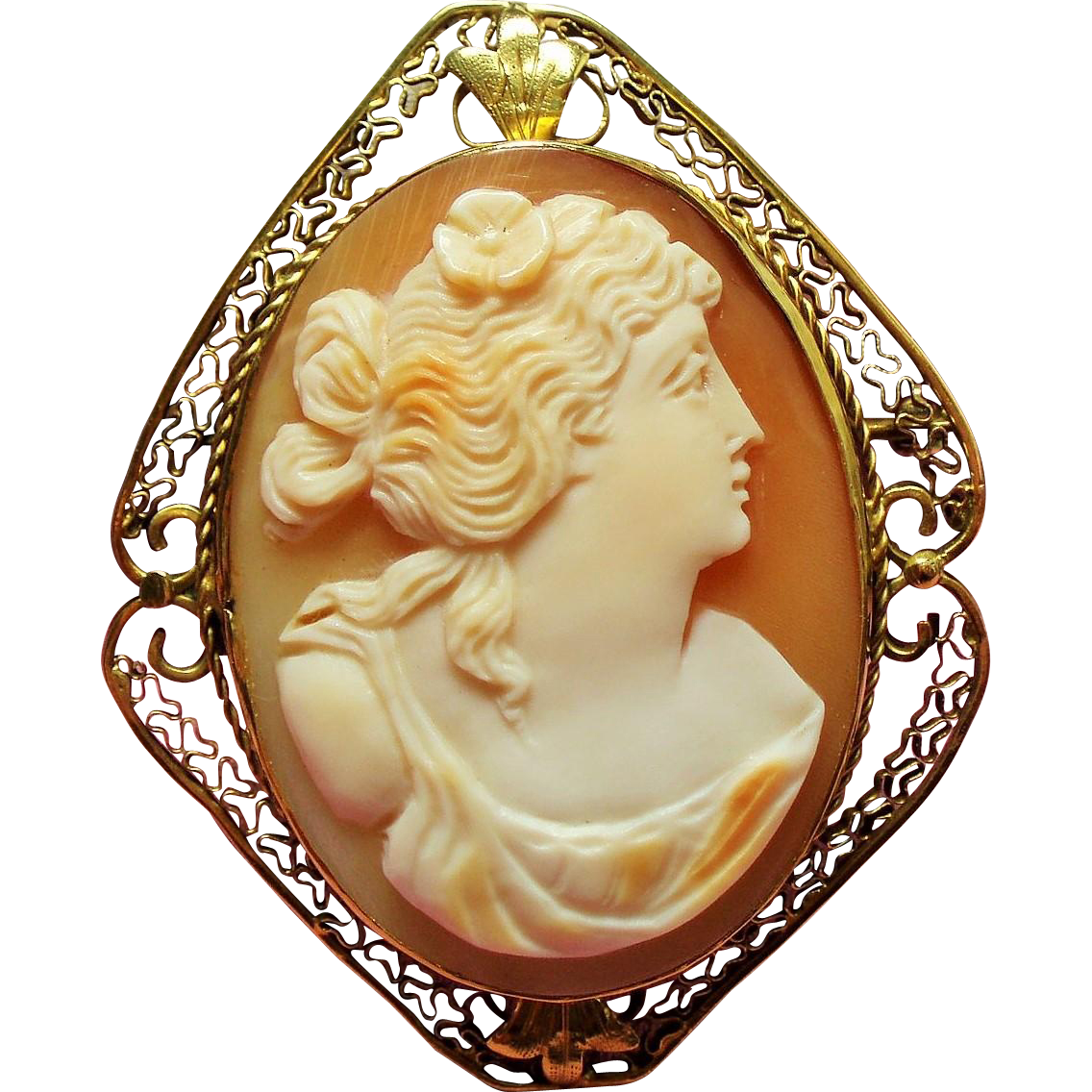 Antique Carved Shell Goddess Cameo Ornate 14K Brooch Pendant