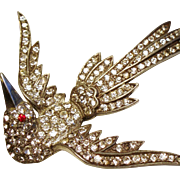 Vintage Diamante Rhinestone Swooping Bird Pot Metal Brooch