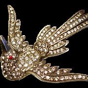 Vintage Diamante Rhinestone Swooping Bird Pot Metal Brooch