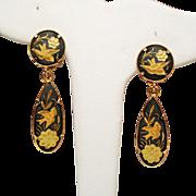 Vintage Damascene Bird & Flower Motif Long Drop Earrings