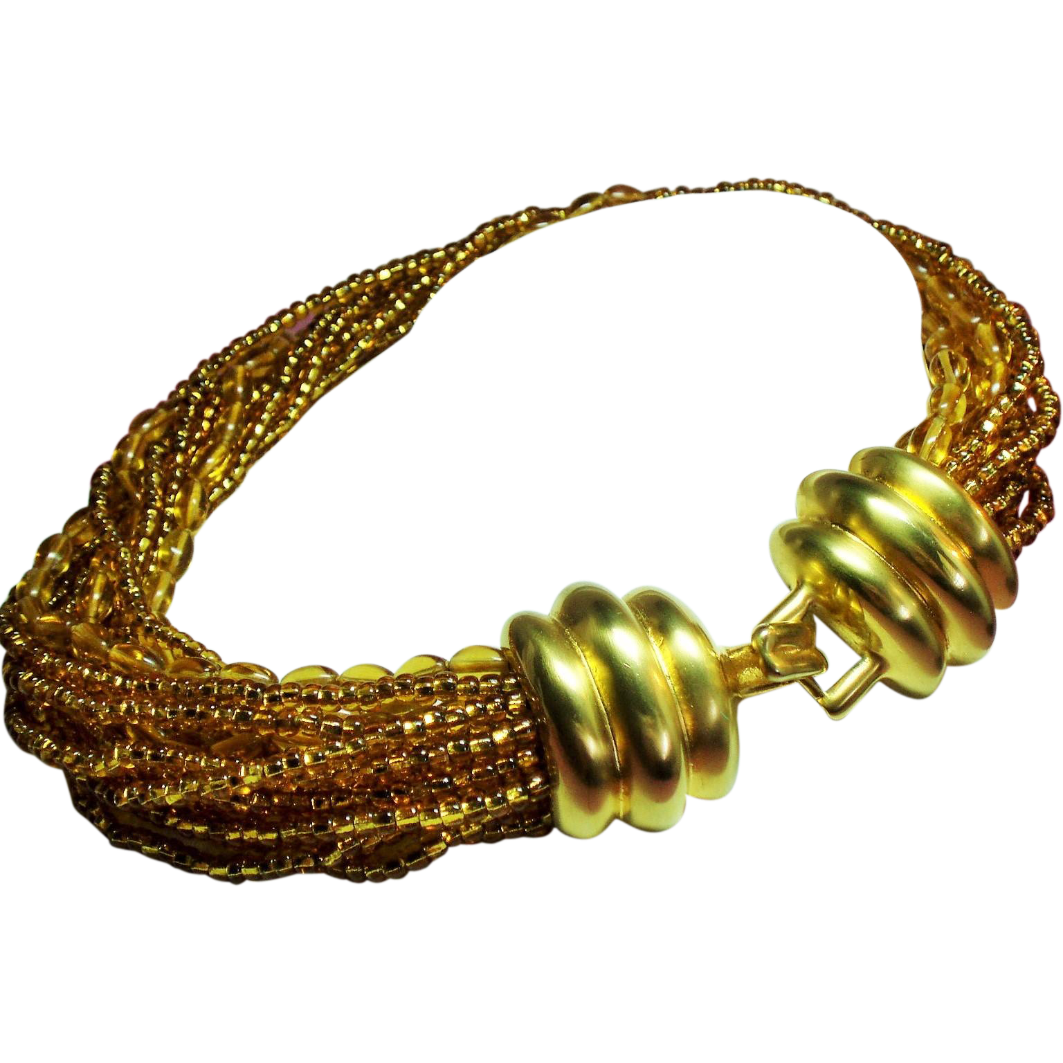 Vintage Donald Stannard Couture Golden Glass Bead Torsade Necklace