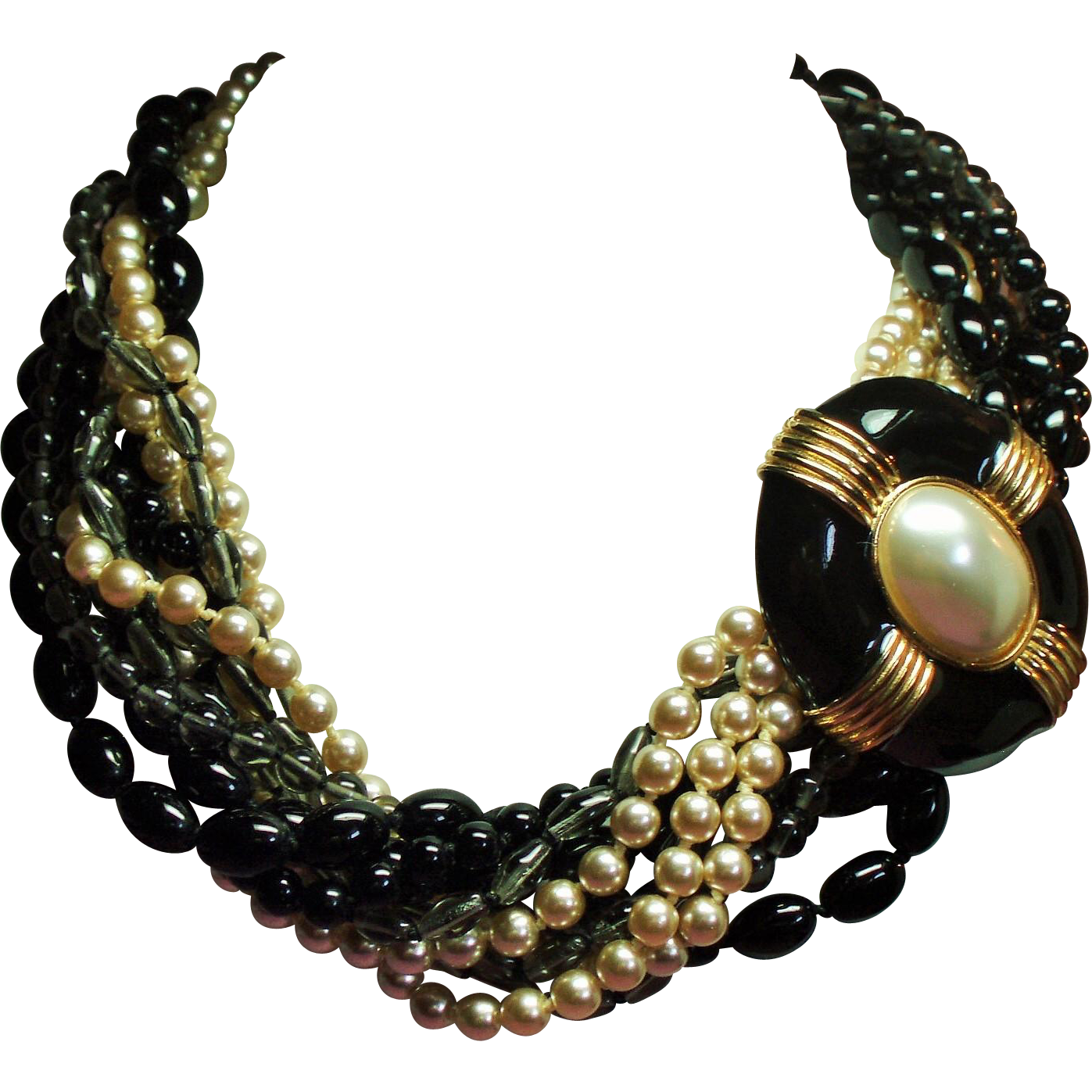 Vintage Donald Stannard Couture Black Bead Torsade Necklace Huge Faux Pearl Clasp