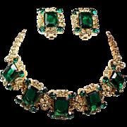 Vintage D&E Juliana Emerald Green Jonquil Rhinestone Necklace Earrings Demi Parure