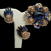 Vintage D&E Juliana Huge Sapphire Montana Blue Rectangular Open Back Stone Filigree Balls Brooch Earrings Set