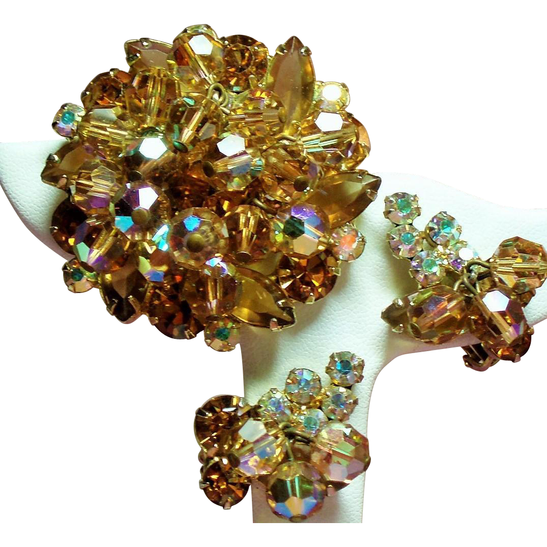 Vintage D&E Juliana Golden Topaz Rhinestone Drippy Bead Brooch Earrings Demi Parure