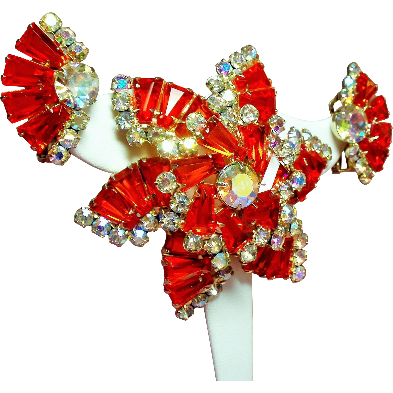 Vintage D&E Juliana Orange Hyacinth Keystone Large Brooch Earrings Demi Parure