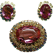 Vintage D&E Juliana Heart Scrolls Pink Rhinestone Brooch Earrings Set