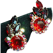 Vintage Juliana D&E Red Rhinestone Climbing Earrings