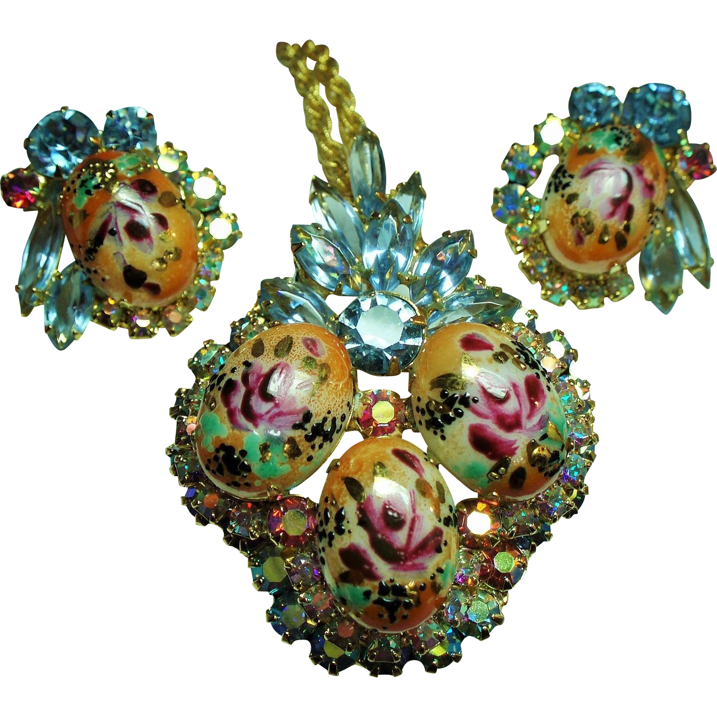 Vintage D&E Juliana Rose Limoges Floral Cabochon Rhinestone Brooch / Pendant Necklace and Earrings Set
