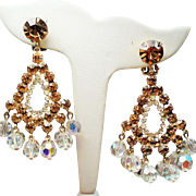 Vintage D&E Juliana Golden Topaz Rhinestones Drippy Crystals Large Chandelier Earrings