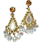 Vintage D&E Juliana Topaz Rhinestone Drippy Crystal Bead Large Chandelier Earrings