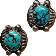 Vintage Native American Turquoise Sterling Earrings