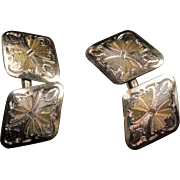 Vintage Early Art Deco Two Tone Chased Cufflinks