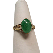 Antique Edwardian Jadeite Jade Cabochon Solitaire 14K Ring
