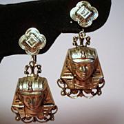 Vintage Egyptian Revival Pharaoh Large Long Drop Earrings