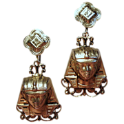Vintage Egyptian Revival Pharaoh Large Long Drop Earrings