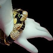 Vintage Black Enamel Elephant Rhinestone Hinged Bangle Bracelet