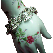 Vintage Elegant Colorless Emerald Cut & Baguette Rhinestone Bracelet