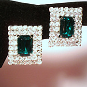 Vintage Faceted Emerald Green Rhinestone Huge Rectangular Earrings