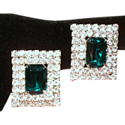 Vintage Faceted Emerald Green Rhinestone Huge Rectangular Earrings
