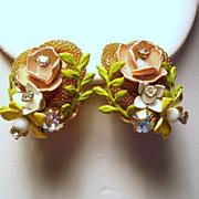 Vintage Enamel Flowers & Rhinestones Nest Earrings