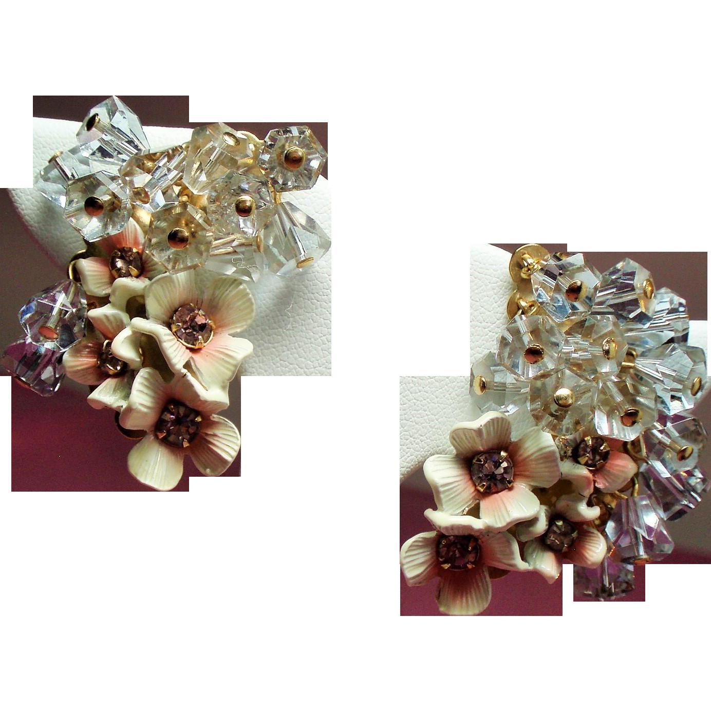 Vintage Pink Enamel Flower Cluster Drippy Lavender Crystal Bead Climber Earrings