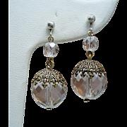 Vintage Faceted Crystal Sterling Drop Earrings