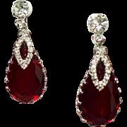 Vintage Huge Red Pear Open Back Glass Stone Rhinestone Drop Earrings