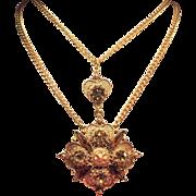 Vintage Florenza Victorian Revival Topaz Rhinestone Pendant Double Strand Necklace