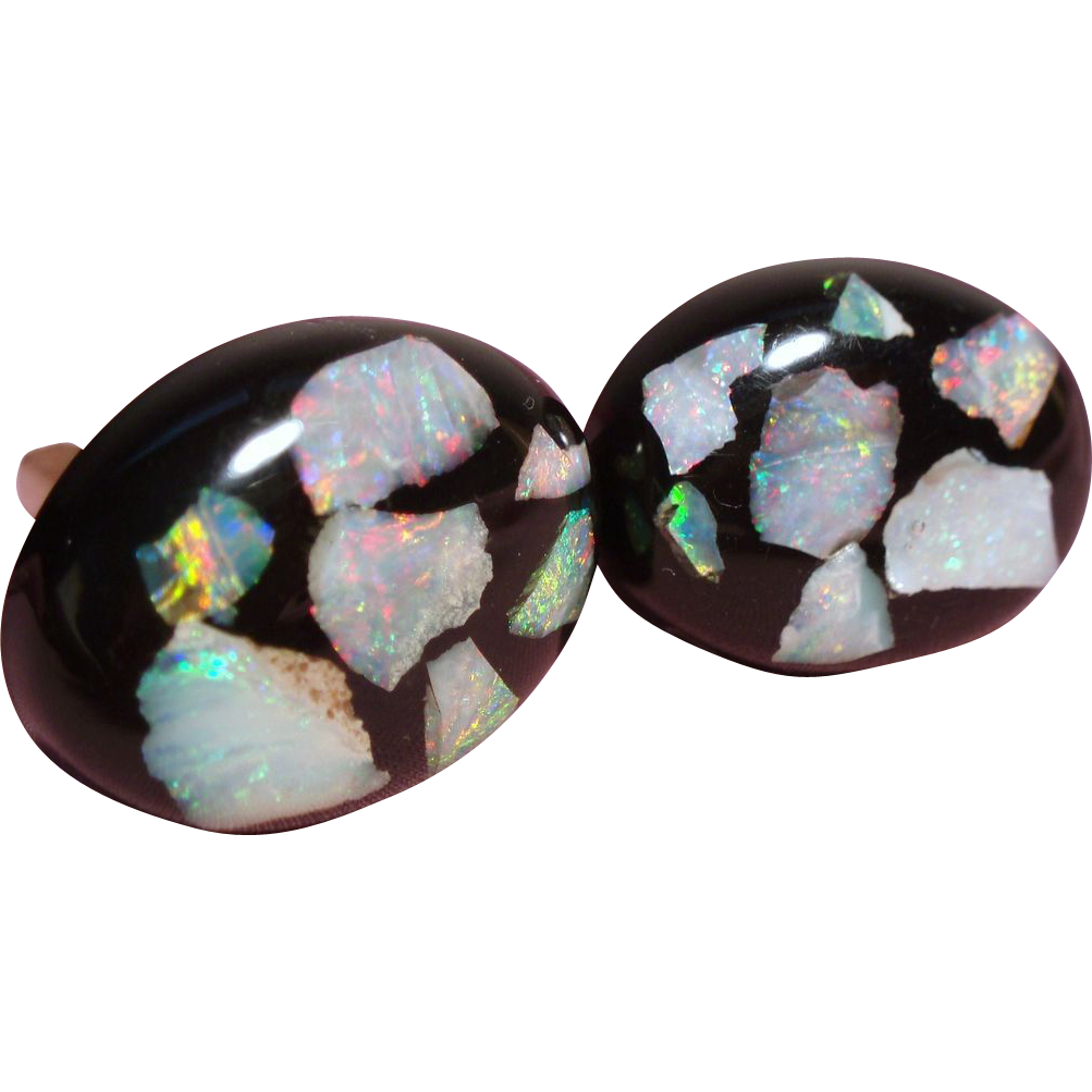 Vintage Floating Opal Oval Cufflinks